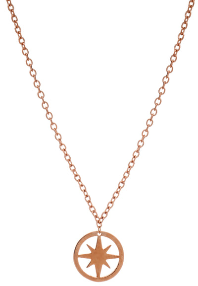 18ct Rose Gold Vermeil Circular Star Charm Pendant Necklace