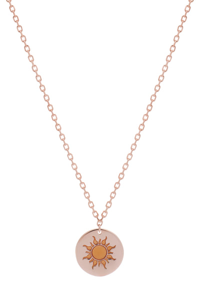 18ct Rose Gold Vermeil Sun Feline Spirit Pendant Necklace