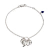 Roaring Flame  Fire Sterling Silver Chain  Bracelet, accented  with blue stone