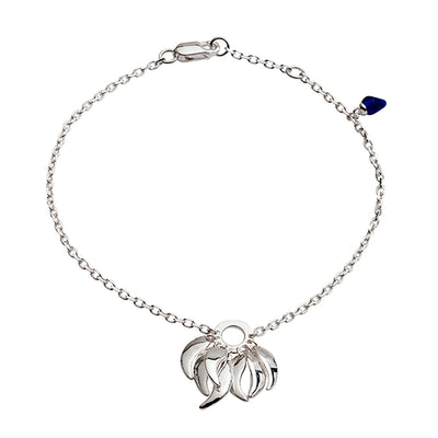 Sterling Silver Chain Roaring Flame  Fire Bracelet with blue stone