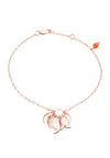 18ct. Rose Gold Vermeil on Sterling Silver Chain Roaring Flame  Fire Bracelet with Red stone