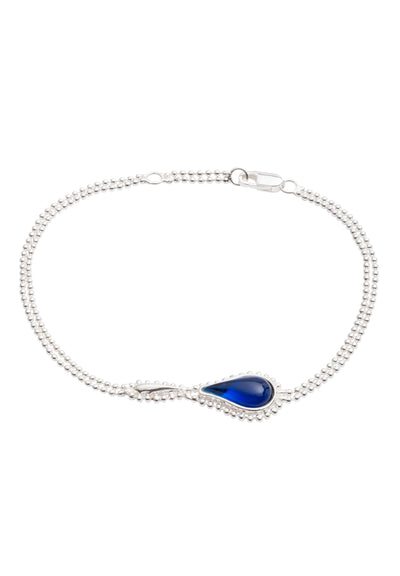 Sterling Silver  Blue Stone Flame  Fire Double Chain Bracelet