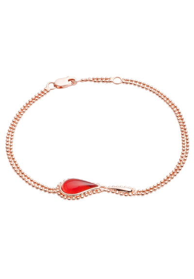 18ct Rose Gold Vermeil  on Sterling Silver Red Stone Flame  Fire Double Chain Bracelet