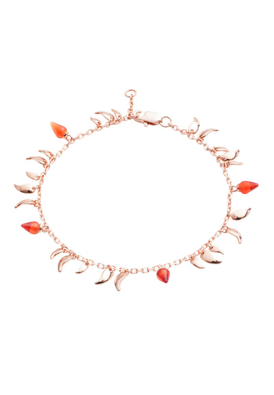 18CT Rose Gold Vermeil on Sterling Silver  Flickering Flame  Red stone Fire  Bracelet