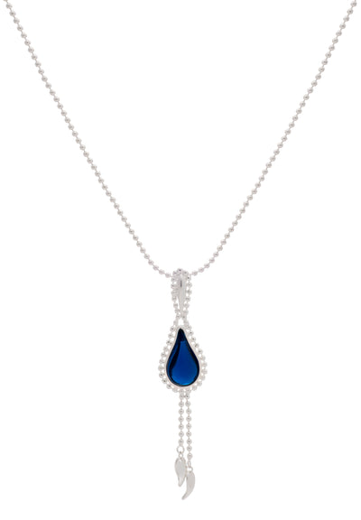 Sterling Silver  Blue Stone Flame  Fire Double Beaded Chain Pendant Necklace