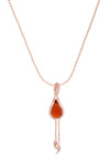 18 ct Rose Gold Vermeil on Sterling Silver Red Stone Flame  Fire Double Chain Pendant Necklace