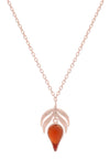 18 ct Rose Gold Vermeil on  Sterling Silver Red Stone Flame  Fire Charm  Pendant Necklace
