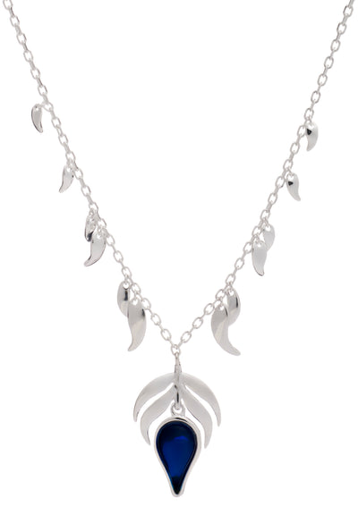 Sterling Silver  Blue  Stone Fire Charm and Dancing Flame Pendant Necklace