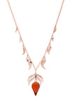 18ct Rose Gold Vermeil on Sterling Silver Red Stone Fire Charm and Dancing Flame Pendant Necklace
