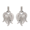 Glittering Sterling Silver Roaring Flame  Fire Earrings-  Large