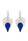 Sterling Silver Blue  Stone Flame  Fire Charm Earrings