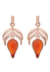 18 ct Rose Gold Vermeil on  Sterling Silver Red Stone Flame  Fire Earrings