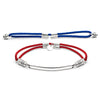 Silver Interchangeable Bracelet - Fiery Red and Royal Blue