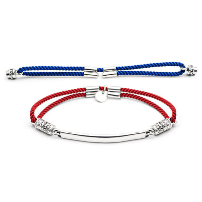 Sterling Silver Interchangeable Bracelet - Fiery Red and Royal Blue