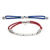 Silver Interchangeable Bracelet with Blue Sapphires - Fiery Red and Royal Blue