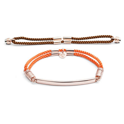 18ct Rose Gold Vermeil Interchangeable Bracelet - Cocoa Brown and Tangerine Tango