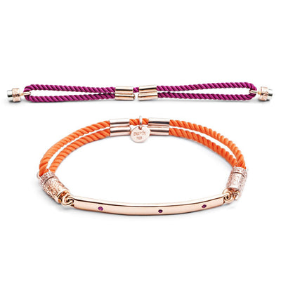 18ct Rose Gold vermeil  Interchangeable Bracelet with Rubies - Hot Pink and Tangerine Tango