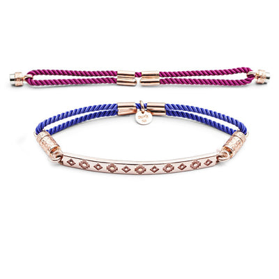 18ct Rose Gold vermeil Pattern Interchangeable Bracelet - Hot Pink and Vivid Violet