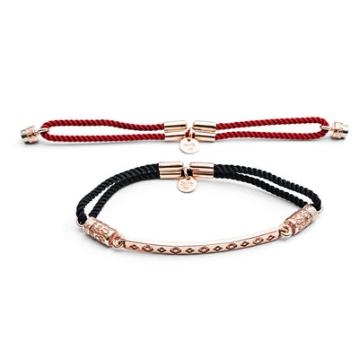 Rose Gold Interchangeable Pattern  Bracelet - Fiery Red and Billowing Black