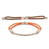 Rose Gold Interchangeable Pattern Bracelet - Cocoa Brown and Tangerine Tango