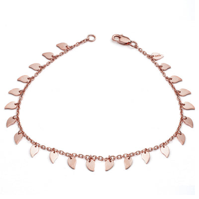 Ladies' Girls' Elegant 18ct Rose Gold Vermeil Large Leaf Bracelet