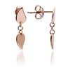 Dainty Ladies' Hand polished 18ct Rose Gold Vermeil Leaf Stud Earrings