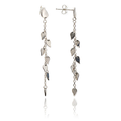 Elegant Hand polished Sterling Silver Leaf Dangle Earrings