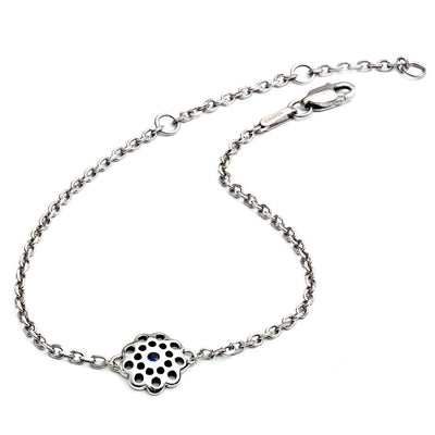 Ladies/Girls Dainty  925 Sterling Silver and Blue Sapphire Paisley Filgree Floral Charm Bracelet