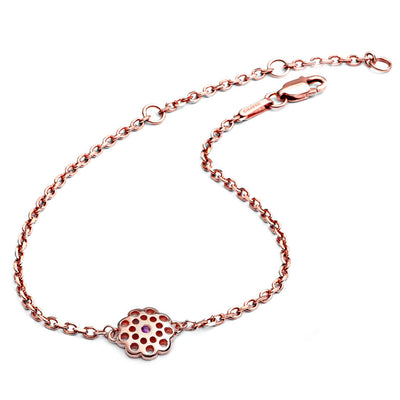 18ct Rose Gold Vermeil  Paisley Floral Charm Bracelet with ruby