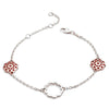 18ct Rose Gold Vermeil and Sterling Silver Mixed Metal Paisley Charm Bracelet