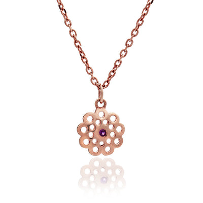 Ladies/ Girls 18ct Rose Gold Vermeil Paisley Flower Charm Necklace with Ruby