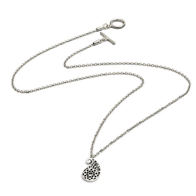 Sterling Silver Paisley Filigree  Charm Pendant Necklace