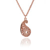 Rose Gold Paisley Filigree Pendant Necklace