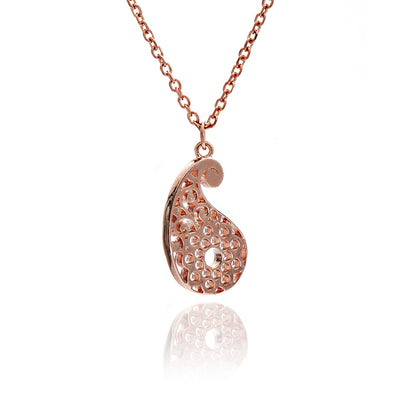 Rose Gold Paisley Filigree Pendant
