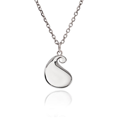 Women's Solid 925   Sterling Silver  Large Bulb Paisley Pendant Necklace