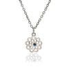 925 Sterling Silver Filigree Paisley Flower Charm Necklace with Blue Sapphire
