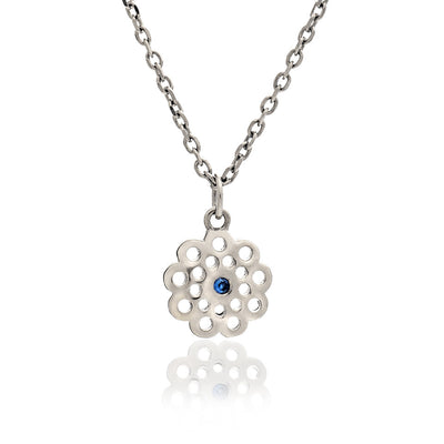 Sterling Silver Filigree Paisley Flower Charm Necklace with Blue Sapphire