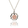 Ladies 18ct Rose Gold Vermeil and 925 Sterling Silver  Paisley Floral Charm Pendant Necklace