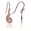 18ct Rose Gold Vermeil Paisley Filigree Charm Drop Earrings