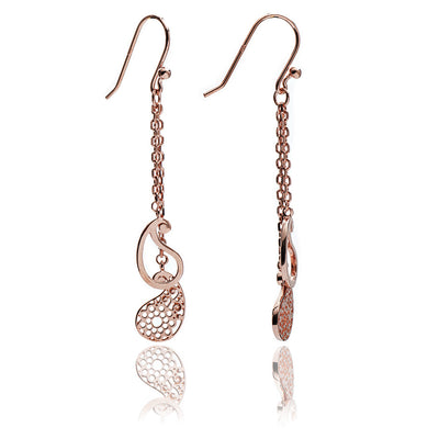 18ct Rose Gold Vermeil Paisley Charm Dangle Earrings