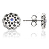925 Sterling Silver  Filigree and Blue Sapphire Floral  Charm Paisley Stud Earrings