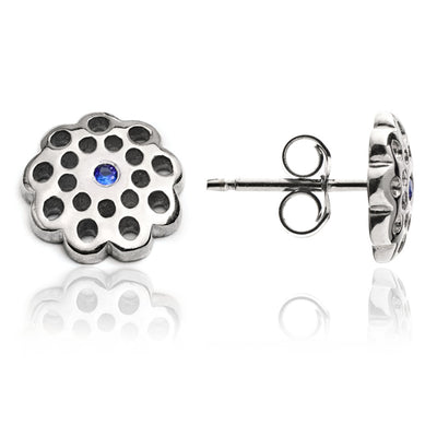 Sterling Silver  Filigree Floral  Charm Paisley Stud Earrings with  Blue Sapphire