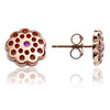 Rose Gold and Ruby Floral Paisley Studs