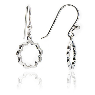 Sterling Silver  Floral Silhouette Paisley Charm  Earrings