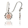 Womens Contemporary Mixed Metal 18ct Rose Gold and sterling Silver Paisley Earrings