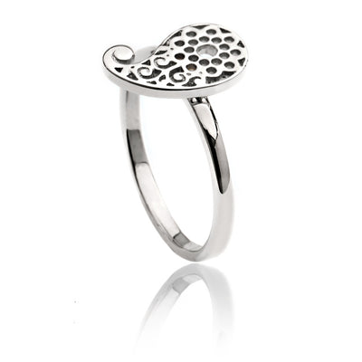 Womens Contemporary Sterling Silver Filigree  Paisley Ring