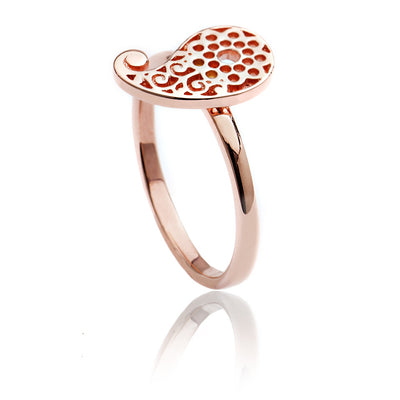 Womens Contemporary 18ct Rose Gold Vermeil Filigree Paisley Ring