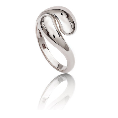 Womens Contemporary Sterling Silver Double Paisley Ring