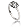 Womens Contemporary Sterling Silver Flower Paisley Ring with blue sapphire