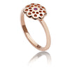 Womens Exotic 18ct Rose Gold Vermeil Flower Paisley Ring With  Rubies